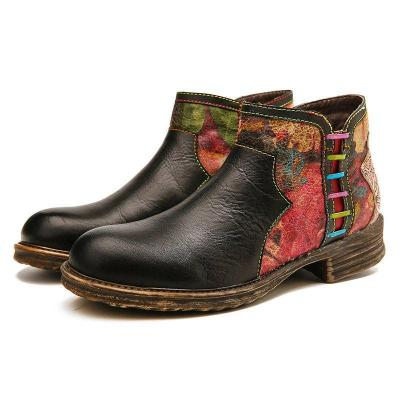 Pu Leather Zipper Low Heel Boots Casual Black Womens Boots
