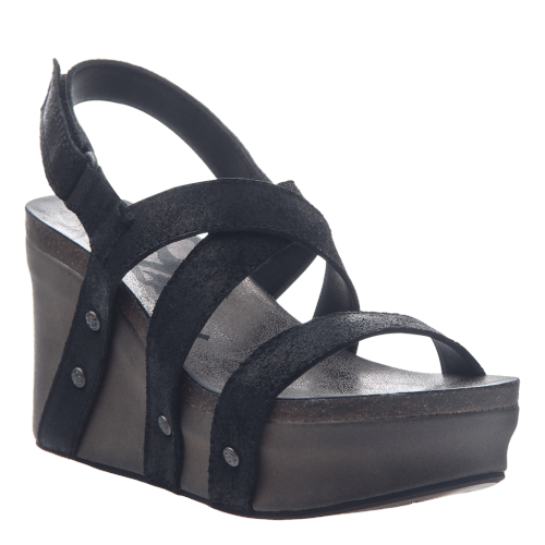 SAIL in BLACK SUEDE Wedge Sandals