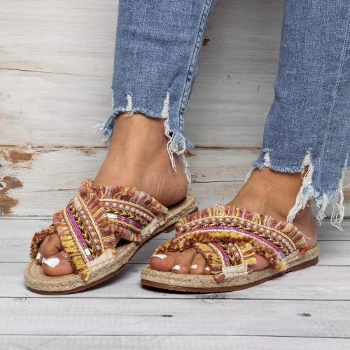 Women Casual Comfort Boho Slippers Peep Toe Shoes