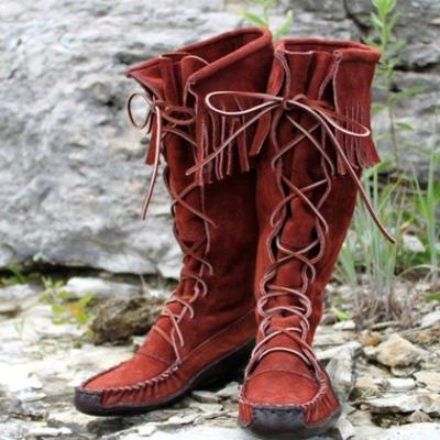 Lace-Up Knee-High Boots Tassel Artificial Leather Womens Boots