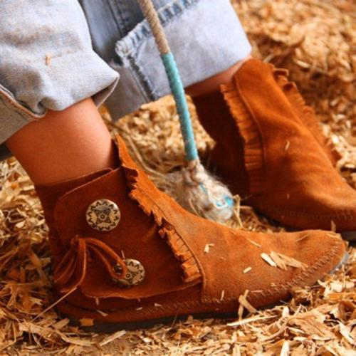 Women Winter Tassel  Vintage Button Ankle Boots