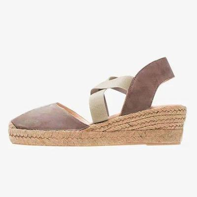 Women Casual Solid Daily Wedge Heel Elastic Band Summer Simple Sandals