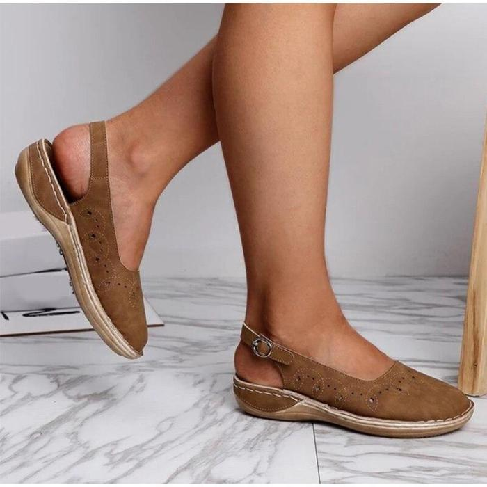 Women's Summer Buckle Flat Shoes Ladies Solid Sewing Pattern Hole Flat Platform Female Casual Comfortable Woman Shoes
