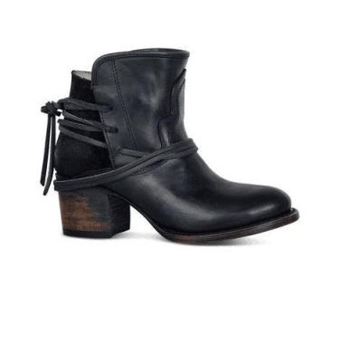 Fall and Winter Rough Heel Middle Heel Low Motorcycle Boots
