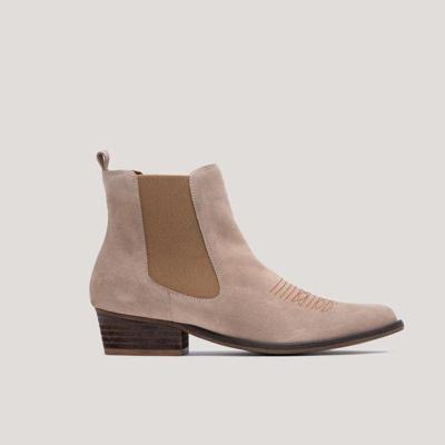 Suede Low Heel Boots