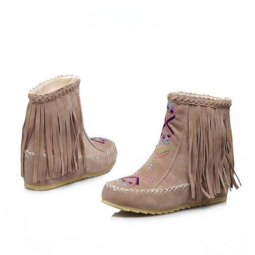 Women Tassel Short Wedge Boots Plus Size Autumn and Winter Shoes 6515