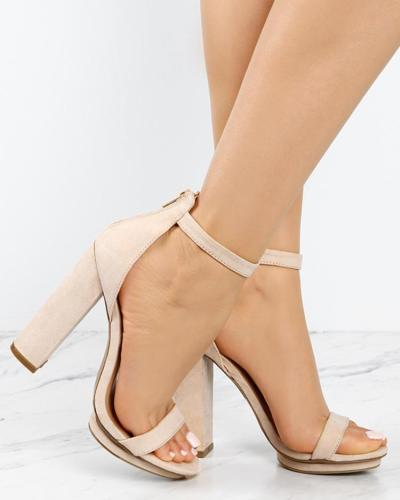 Sexy Open Toe Strap Anklet Chunky Heeled Sandals