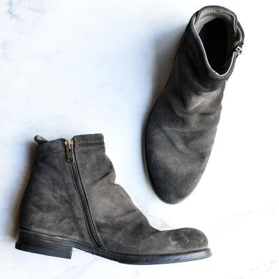 Women Stylish Low Heel Faux Suede Side Zipper Ankle Boots