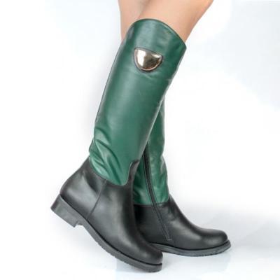 Women Zipper Round Toe Pu Casual Chunky Heel Mid-Calf Boots
