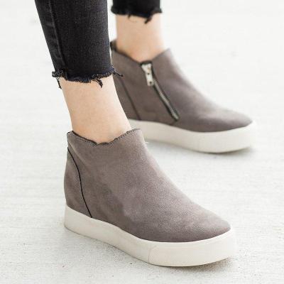 Women Round Toe Casual Zipper Flat Heel Pu Sneakers