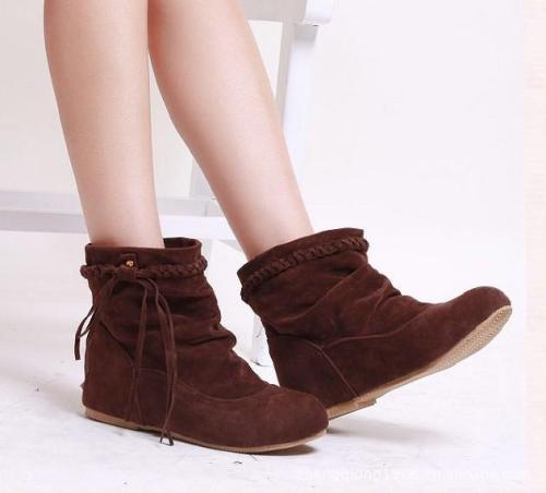 Women Suede Tassel Short Boots Plus Size Autumn and Winter Shoes 4098