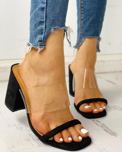 Transparent Strap Chunky Heeled Sandals
