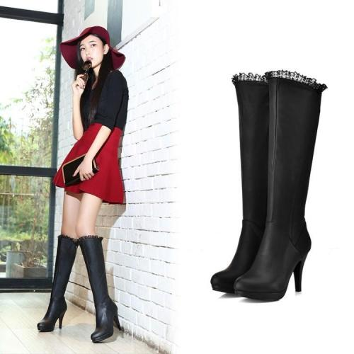 Slim Lace High Heels Tall Boots for Women 2474