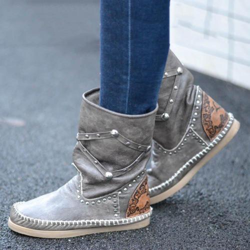 Rivet Spring/fall Flat Heel Boots