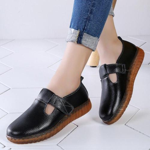 Women Flat Shoes Hook Loop Hollow Non Slip Genuine Leather Shoes Women Solid Rubber Nurse Shoes Woman Round Toe