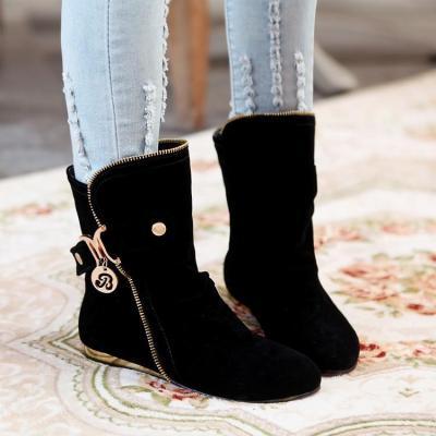 Velvet Flats Short Boots Plus Size Women Shoes 7857