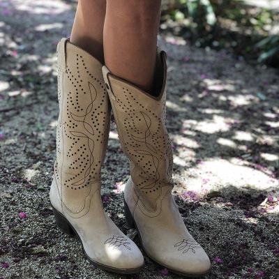 Vintage Women Block Heel Hollow-Out Slip-On Knee-High Boots