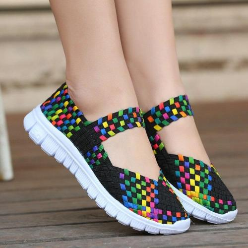 Women Shoes Summer Flat Female Loafers Women Casual Flats Woven Shoes Sneakers Slip On Colorful Shoes Mujer Plus Size 42
