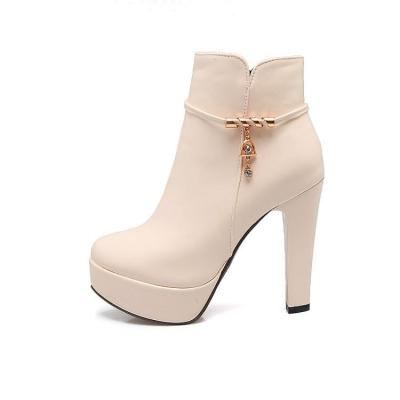 Women Shoes Fall/winter Zipper High Heel Thick Heel Platform Short Boots