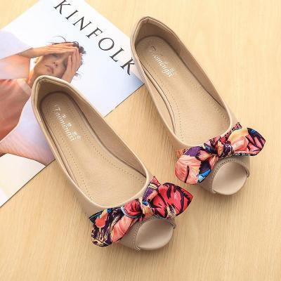 Peep Toe Flat Shoes Casual Bow Pregnant Women's Shoes Flat Driving Female Work Ballet Flats Plus Size 33-43 Ladies Shoes YX0001