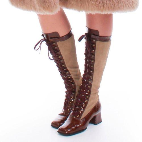 Knee-High Lace-Up Winter Artificial Leather Block Heel Boots