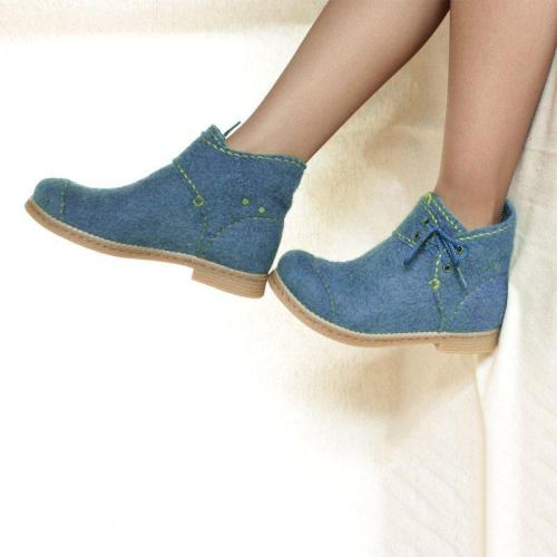 Women Winter Casual Lace-Up Woolen Ankle Boots