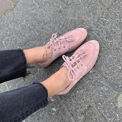 Plus Size Tassel Suede Flat Heel Slip On Loafers