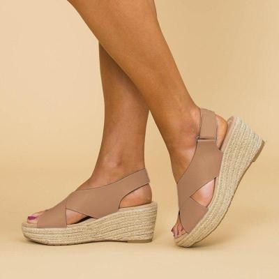 Women Peep Toe Magic Tape Wedges Crossed Sandals