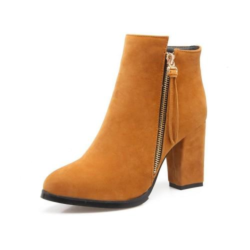 Women's Ankle Boots Fall and Winter Suede High Heel Size 32-43 Short Boots Shoes