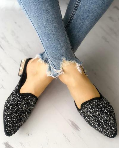 Sequins Embellished Pointed Toe Chunky Sandals