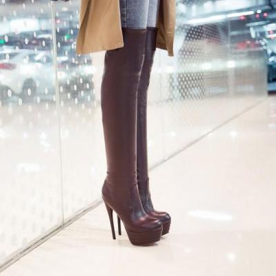 Slim Stiletto Heel Platform Over the Knee Boots for Women 3291