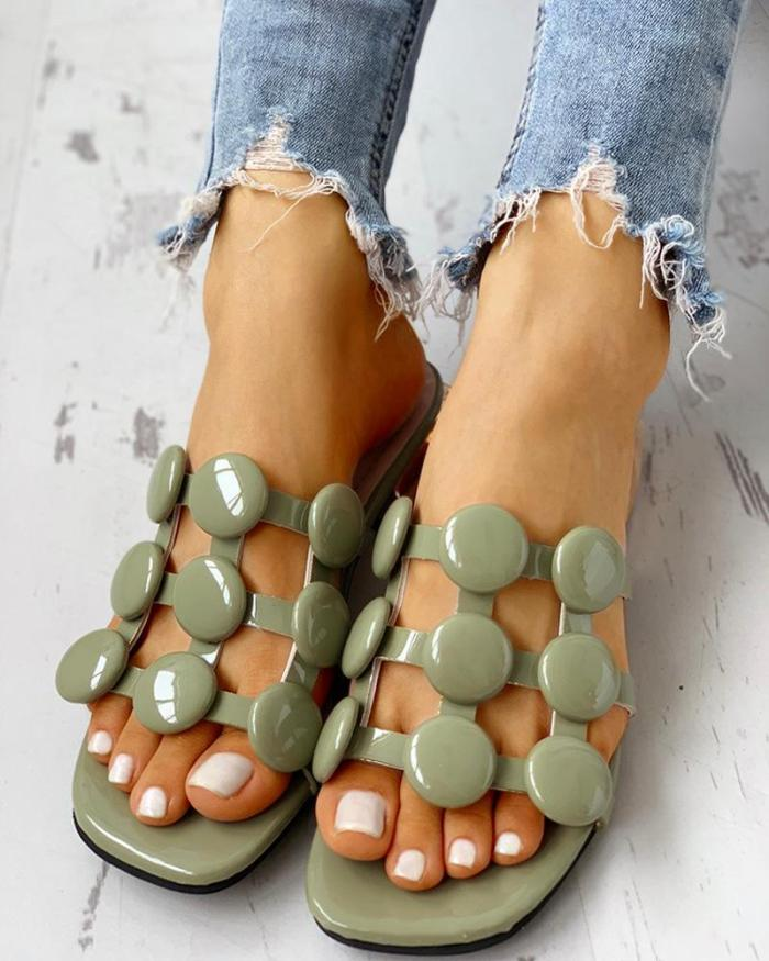 Hollow Out Chunky Heeled Sandals