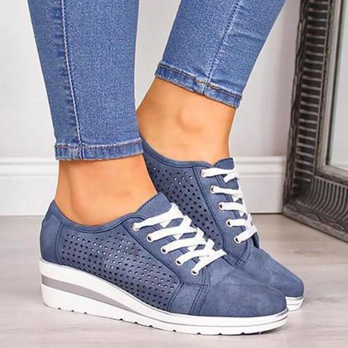 Fashion Lace Up Chunky Sneakers Woman Large Size 43 Hollow Cozy Wedges Shoes For Women Rubber Casual Woman Sneakers