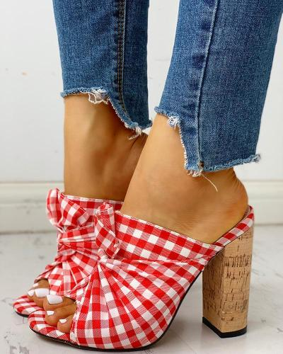 Peep Toe Grid Bowknot Chunky Heeled Sandals