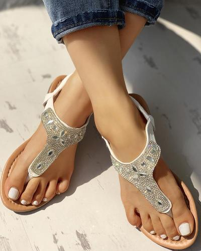 Studded T-Strap Casual Flat Sandals