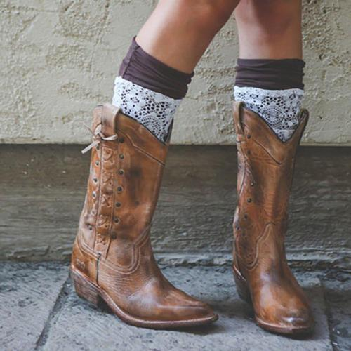 Women Vintage Daily Artificial Slip On Mid-Calf Boots