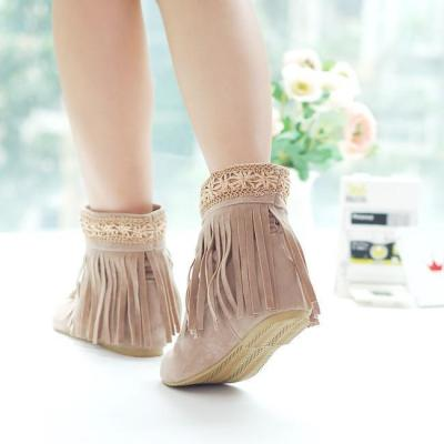 Women Tassel Short Boots Plus Size Autumn and Winter Shoes 4843