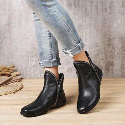 Women Ankle Boots Double Zip Plus Size Shoes
