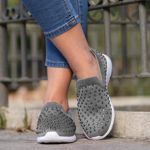 Women Rhinestone Round Toe Casual Flat Heel Pu All Season Sneakers