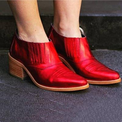 Pu Leather Sexy Ankle Boots Slip-On Chunky Heel Short Boot