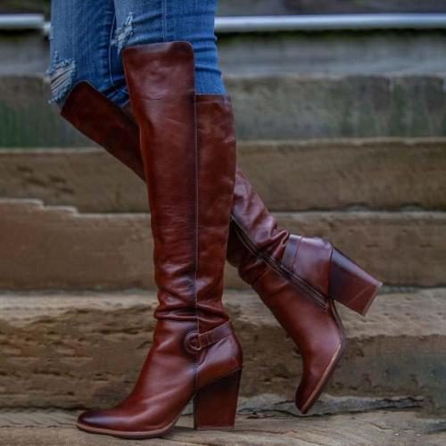 Pu Leather Zipper Chunky Heel Boots Sweet Knee-High Long Boots