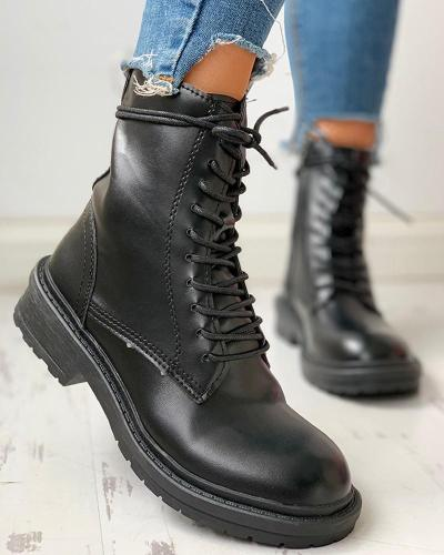 Solid Lace-Up Chunky Heeled Boots