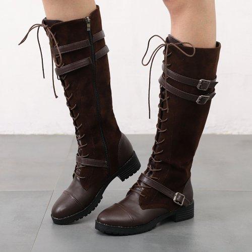 Women's Chunky Heel Round Toe Belt Buckle Boots