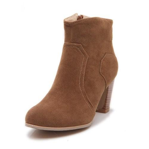 Suede High Heels Short Boots Plus Size Women Shoes 9153