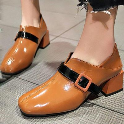 Pu Chunky Heel Heels