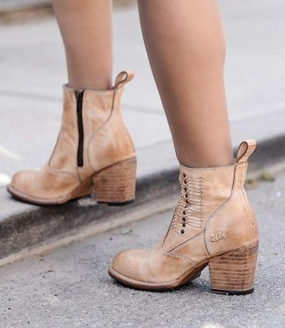 Khaki Zipper Fall Low Heel Leatherette Daily Boots