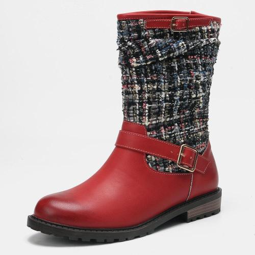 Women Winter Splicing Buckle Strap Long Boots