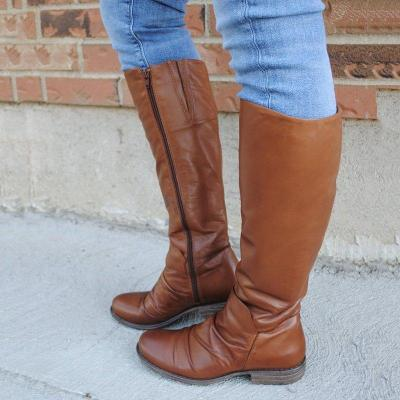 Zipper Pu LeatherLow Heel Womens Long Boots