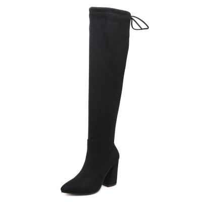 Pointed Toe Suede Cross Straps Tall Boots 7273