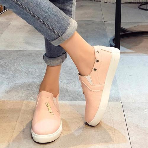 Womens Sneakers Distressed canvas Sneaker Slip On Shoes